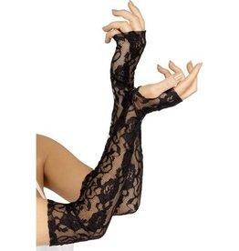 Fever Zwarte vingerloze kanten handschoenen