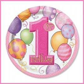 Gebakbordjes Pink Balloons (8st)