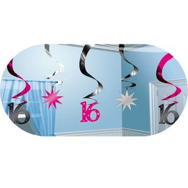 Deco Swirls Sweet Sixteen (5st)