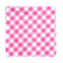 Servetten roze ruitjes (16 st)