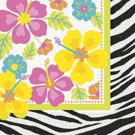 Servetten flowers / zebra (20st) OP=OP
