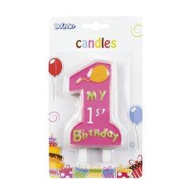 Verjaardagskaars 1st birthday (meisje)
