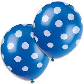 Ballonnen blauw met witte stippen (6st)
