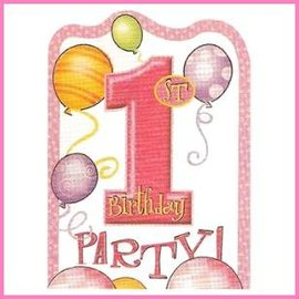 Uitnodigingen Pink Balloons (8st)