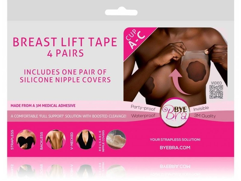 Bye Bra Breast Lift Tape with Dark Silicone Covers