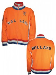 Orange Holland Retro Jacket in orange, red, white and blue (with text Holland)