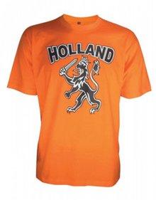Oranje WK 2014 T-shirts (voorzien van de tekst HOLLAND en logo Holland leeuw)