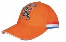 Oranje Holland 6-panel Baseballcap met tekst HOLLAND en logo Hollandse leeuw