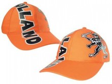Oranje Holland Baseballcaps (voorzien van de all-over tekst HOLLAND en logo Hollandse leeuw)