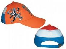 Goedkope oranje Holland Kinder Caps in de kleuren oranje, rood, wit en blauw (voorzien van Holland leeuw)