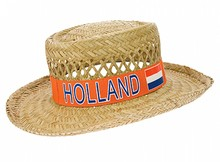 Orange HOLLAND stråhatte (påtrykt tekst og Hollande Holland nationale farver, rød, hvid og blå)