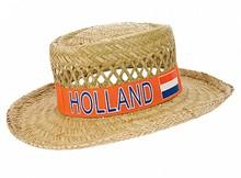 Oranje HOLLAND Strohoeden (voorzien van een opdruk met tekst Holland en de Hollande nationale kleuren, rood, wit en blauw)