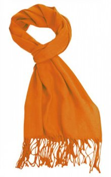 Orange Pashmina (acryl materiale med frynser, str. 40 x 180 cm)