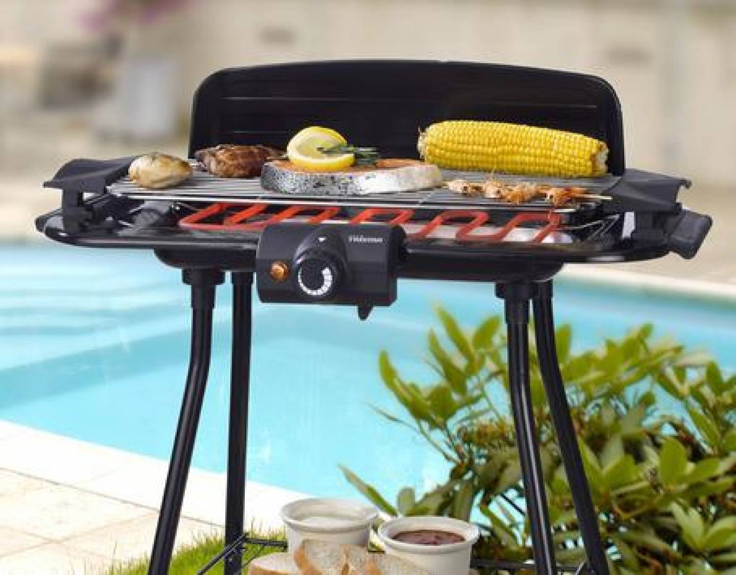 Barbecue stand on stable stands with windshield