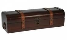 """Дървени колониални един контейнер в кутии за вино """"Колумбия"""" гарнирани с кожа (размер 403 х 132 х 110 mm извънгабаритни)"""