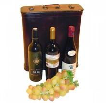 """3-fles koloniale houten wijnkoffers """"Angelina"""" (afmeting 345 x 290 x 95 mm)"""