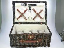 """Lifestyle collectie │ Mørkebrun kurvefletning picnic kurv """"Paris"""" (komplet med indhold til fire personer)"""
