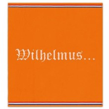 Cheap DDDDD orange terry kitchen towels with text Wilhelmus (size 50 x 55 cm)