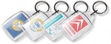 Goedkope rechthoekige doorzichtige sleutelhangers (afmeting sleutelhanger is 4,2 x 6,5 cm)
