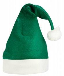 Kerstmutsen in de kleur groen met een witte rand (volwassen maat)