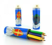 12 potloden in koker met afbeelding van Sint en Piet (incl. puntenslijper)