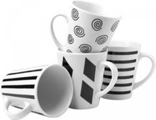 4-piece porcelain mokkenset in black and white