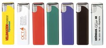 Cheap electronic refillable lighter (with a logo and / or text on one side in 1 color)