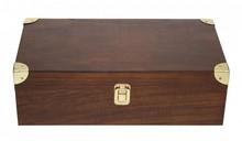 Луксозни вино, кутия кафяв 2-отделение с капак на панти
