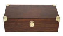 Luxury wine box brown 2-compartment with hinged lid