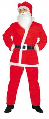 Real Santa Suits for Santa (komplet sæt bestående af: 1x hue, skæg 1x, 1x jakke, bukser og 1x 1x bælte)