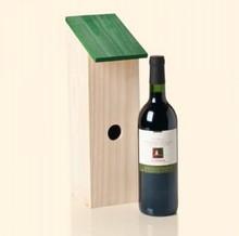 Blank houten Vogelhuisjes (passend voor 1 wijnfles met een inhoud van 0,75 liter)