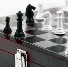 Vin Box Chess (14-piece træ vin kasse med skak)