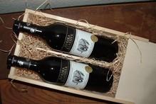 Wijnpakket Afrika Klassiek rood (2-vaks wijnkist met schuifdeksel incl. 2 flessen Afrikaanse rode wijn, opgevuld met houtwol)