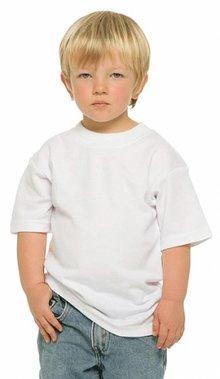Goedkope witte kinder T-shirts kopen? Goedkope witte kinder T-shirts (100% katoen) met korte mouw en ronde hals