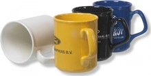The cheapest black, yellow, dark blue and white porcelain large mug with your logo or advertising message here to order!