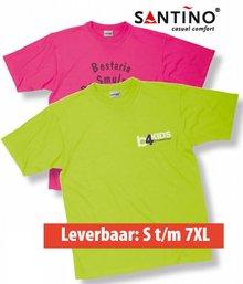 T-shirts! De goedkoopste gekleurde T-shirts met gratis opdruk van logo en reclametekst in 1 kleur op 1 zijde