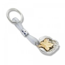 """Sleutelhanger """"Het Geluk Dichtbij"""" (verzilverde sleutelhanger verpakt in een fluwelen buidel zakje)"""