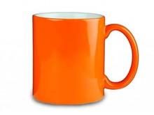 Oranje mokken (voorzien van een opdruk van een logo, embleem en/of tekst in 1 of meerdere drukkleuren)