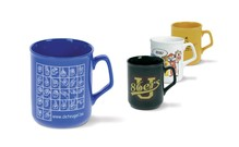 Victoria Mug available in black, yellow, blue and white, with your logo and / or (advertising) message