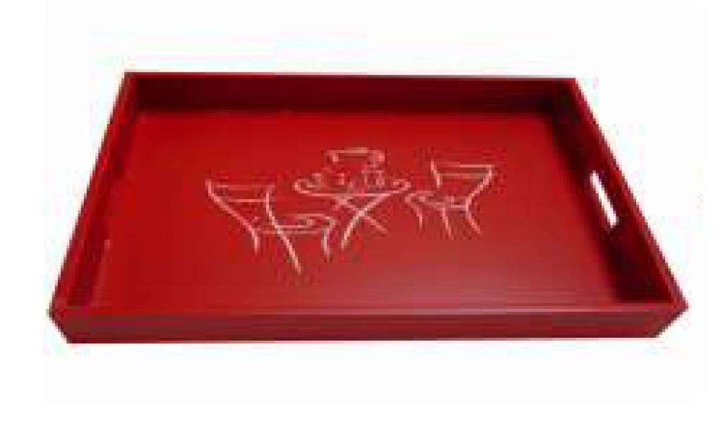 De Kleur Rood : Houten dienblad koffietafel in de kleur rood afmeting x