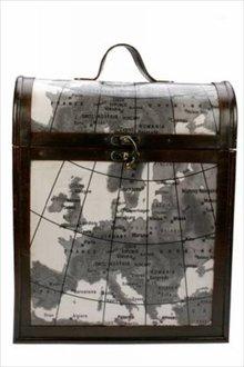"""Wijnkist """"Landkaart"""" geschikt voor 3 flessen wijn (afmeting 310 x 140 x 380 mm)"""