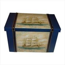 Geschilderde houten scheepskisten 'Goede Vaart' (afmeting 365 x 216 x 234 mm)