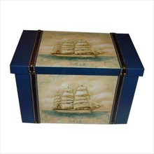 Painted wooden ship boxes' Good Vaart (size 365 x 216 x 234 mm)