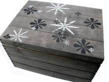 Large gray wooden sea chest with nostalgic floral print