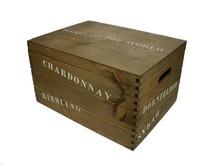 Goedkope bruine houten wijnkist met namen van bekende wijnen kopen?