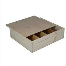 Blank houten 4-vaks wijnkisten met schuifdeksel (blank hout)