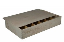 6-compartment wooden wine boxes with sliding lid (blank wood)