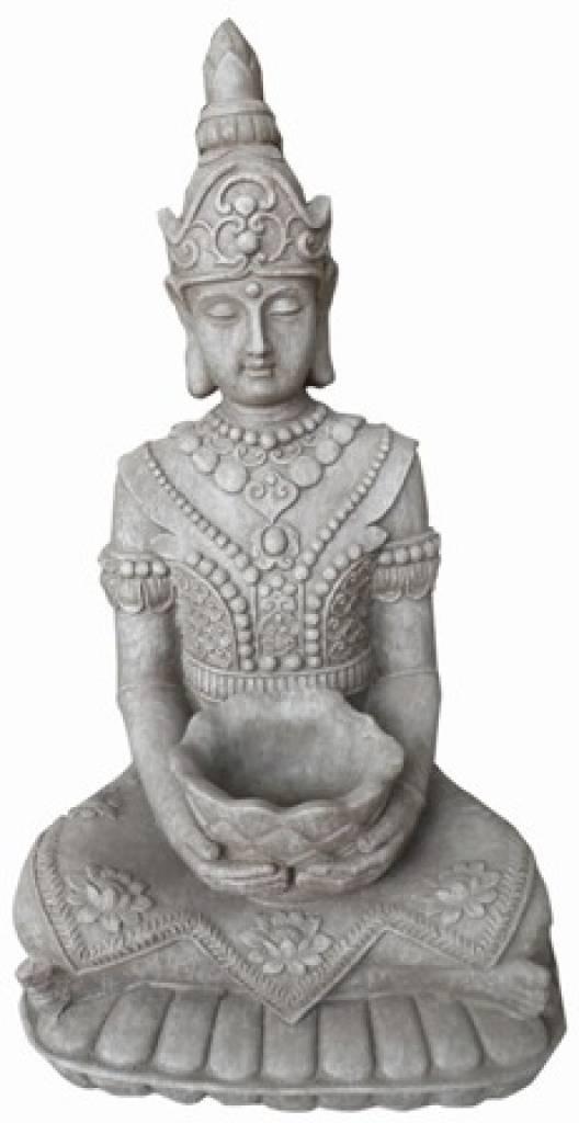 buddha statue kwan yin sitzend mit skala kaufen goods and gifts billige weinkisten kaufen. Black Bedroom Furniture Sets. Home Design Ideas