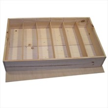 6-compartment wooden wine boxes with separate lid (white wood)