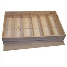 6-vaks houten Wijnkisten met los deksel (blank hout)